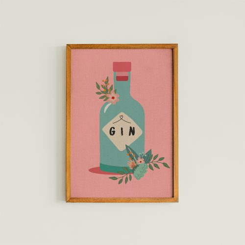 Floral Gin Bottle Art Print
